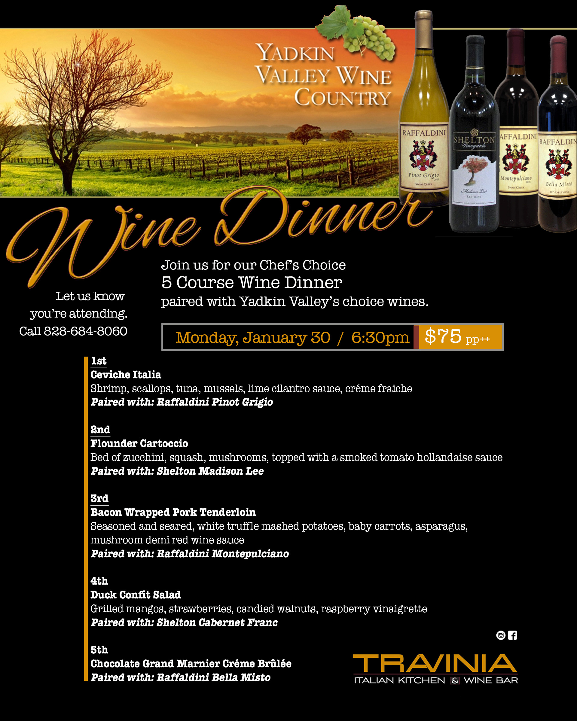Travinia Italian Kitchen Wine Dinner Biltmore Park Town Square